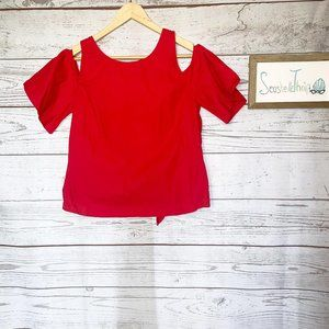 Dizzy lizzy cold shoulder red crop backless top s